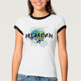 Modern Grunge Halftone Michigan T-Shirt Womens