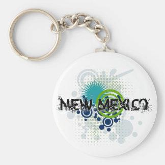 Modern Grunge Halftone New Mexico Keychain