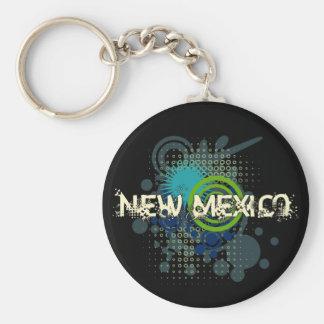 Modern Grunge Halftone New Mexico Keychain Dark