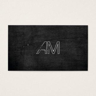 Modern Grunge Monogram on Black Wood