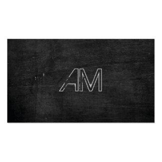 Modern Grunge Monogram on Black Wood Pack Of Standard Business Cards