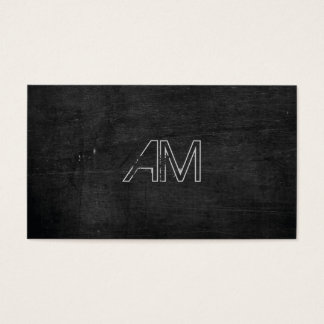 Modern Grunge Monogram on Black Wood Business Card