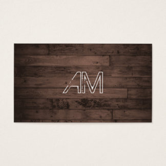 Modern Grunge Monogram on Brown Wood Business Card