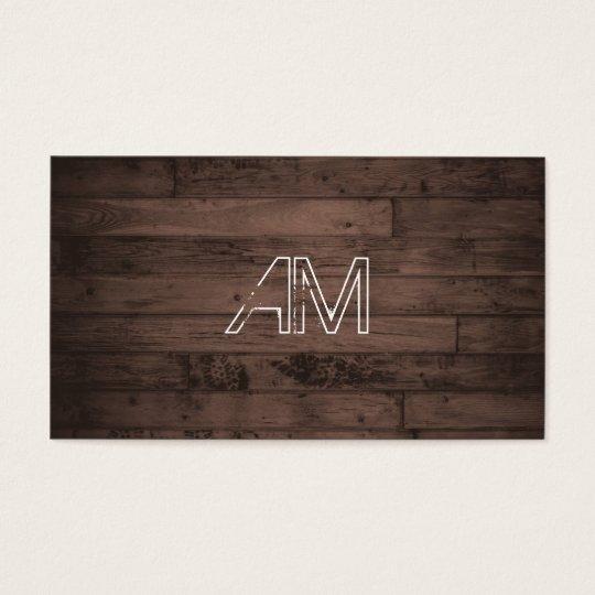 Modern Grunge Monogram on Brown Wood Business Card