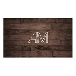 Modern Grunge Monogram on Brown Wood Pack Of Standard Business Cards