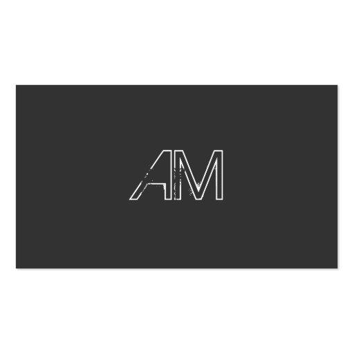 Modern Grunge Monogram on Carbon Black Business Card Template