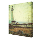 modern grunge oil painting vintage light house gallery wrapped canvas