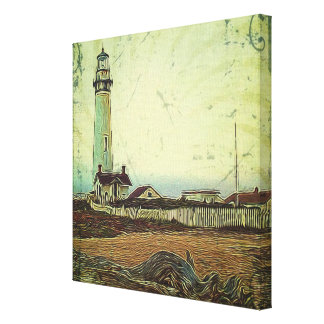 modern grunge oil painting vintage light house canvas print