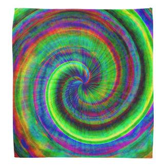 Modern Grunge Spiral Rainbow Tie Dye Bandanna
