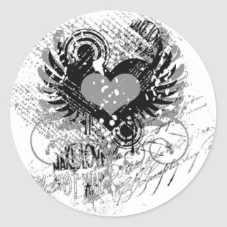 modern Grungy heart design Round Sticker