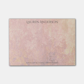 Modern Grungy Peach Pink Gold Office Personalized Post-it® Notes