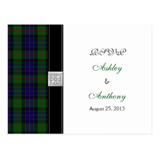 Modern Gunn Tartan Wedding Rsvp Reply Postcard