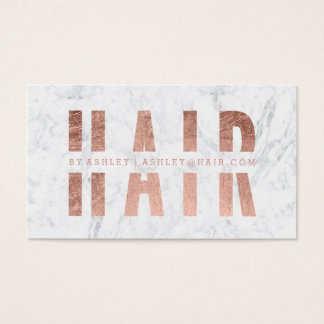 Modern hair cut out rose gold typography marble business card