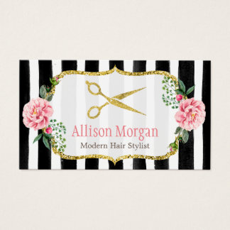 Modern Hair Stylist Girly Gold Pink Floral Striped