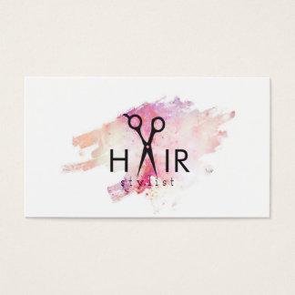 modern hair stylist pink watercolor paint splatter business card