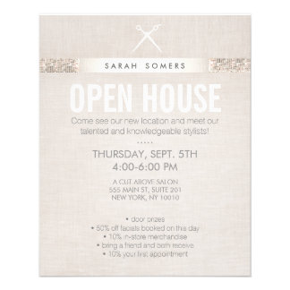 Modern Hair Stylist Scissors Sequin Salon Flyer