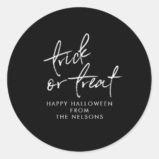 Modern Halloween Favor Sticker | Black and White