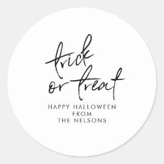 Modern Halloween Favor Sticker | Black and White 2