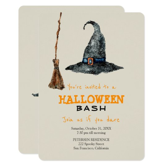 Modern Halloween simple broom and witch hat party Card
