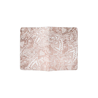 Modern hand drawn elegant rose gold floral mandala passport holder
