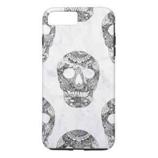 Modern hand drawn floral lace black marble skulls iPhone 8 plus/7 plus case