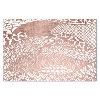 Modern hand drawn geometric rose gold pattern tissue paper