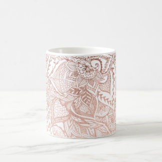 Modern hand drawn rose gold floral boho mandala coffee mug