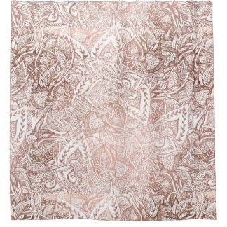 Modern hand drawn rose gold floral mandala shower curtain