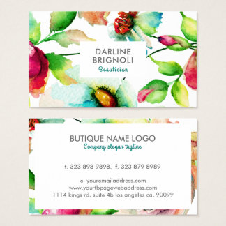 Modern Hand Drawn Watercolors Flowers Business Card