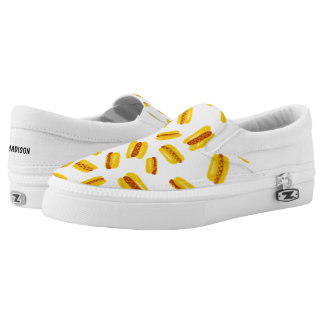 Modern hand painted hot dog food pattern printed shoes
