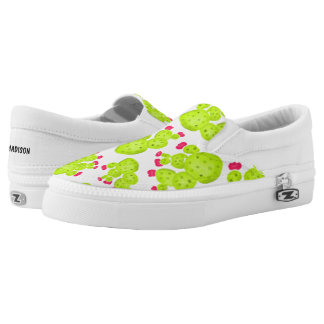Modern hand painted pink green watercolor cacti Slip-On shoes
