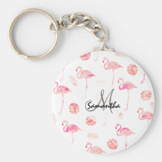 Modern hand painted pink watercolor flamingo tropi basic round button key ring