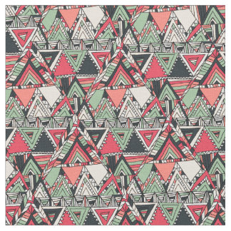 Modern handdrawn Aztec Pattern Orange Triangles Fabric