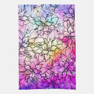 Modern handdrawn flowers pink purple watercolor tea towel
