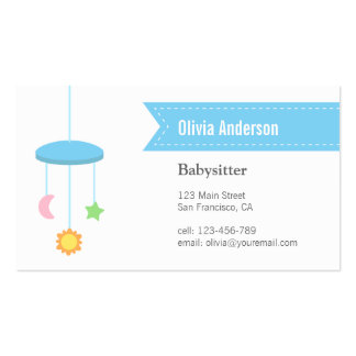Modern Hanger Toys Babysitting Business Cards