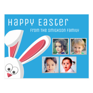 Modern Happy Easter Cute Bunny Photo Collage Postcard