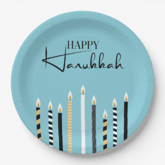 Modern Happy Hanukkah Candles Holiday Paper Plates