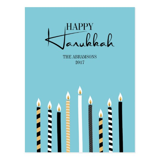 Modern Happy Hanukkah Candles Holiday Postcard