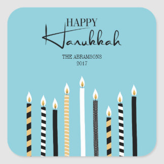Modern Happy Hanukkah Candles Holiday Sticker