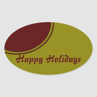Modern Happy Holidays Oval Sticker