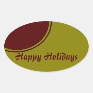Modern Happy Holidays Oval Sticker