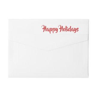Modern Happy Holidays Red Script Wrap Around Label