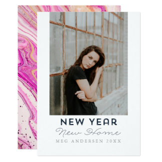 Modern Happy New Year New Home Moving Photo Card