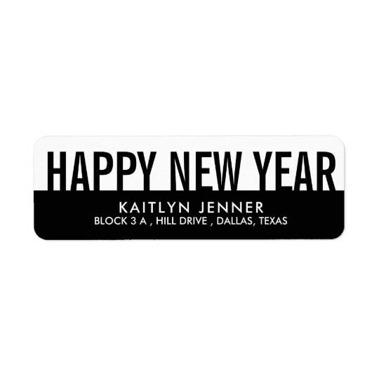 Modern Happy New Year | Typography Black And White