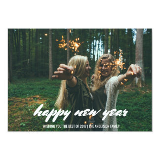 Modern Happy New Year Typography Photo Card