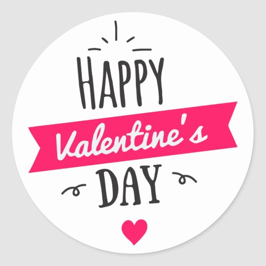 Modern HAPPY VALENTINE's DAY Pink White Heart Classic Round Sticker