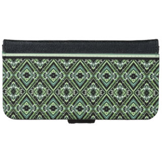 Modern Harlequin Pattern in Black, Teal, and Green iPhone 6 Wallet Case