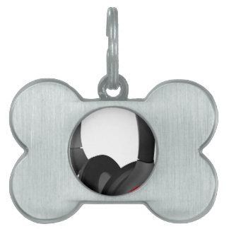 Modern Headphones Pet Name Tag