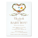 Modern Heart baby bird Boys Baby Shower 11 Cm X 16 Cm Invitation Card