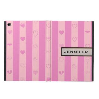 Modern Heart Elegant Pink Purple Stripe Powis iPad Air 2 Case